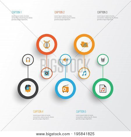 Music Flat Icons Set. Collection Of Broadcasting, Portfolio, Earpiece And Other Elements