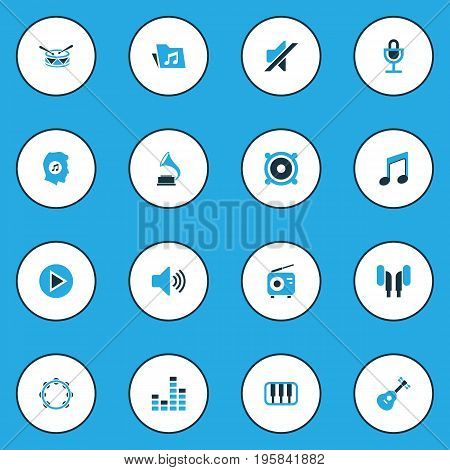 Audio Colorful Icons Set. Collection Of Speaker, Microphone, Radio And Other Elements