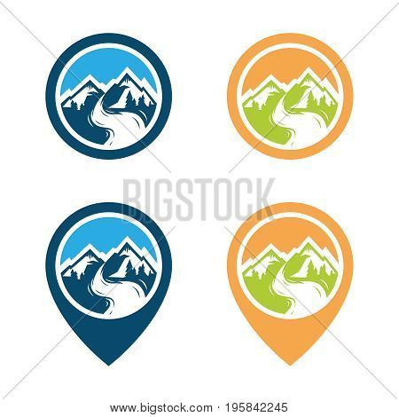 Adventure mountain pine tree logo. Mountain rock and pines outdoor camping labels. Vector illustration, eps8. eps10
