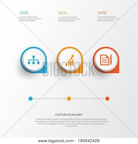 Business Icons Set. Collection Of Contract, Increasing, Hierarchy And Other Elements