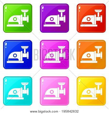 Electric grinder icons of 9 color set isolated vector illustration