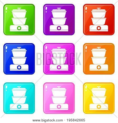 Steamer icons of 9 color set isolated vector illustration