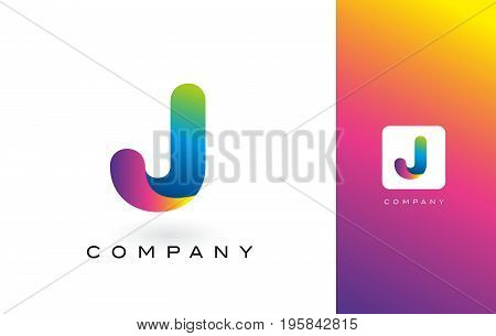J Logo Letter With Rainbow Vibrant Beautiful Colors.j Colorful Trendy Letters Purple And Magenta Log