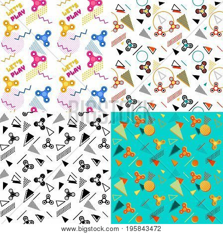 Fidget spinner seamless geometric patterns set or background with colorful icons of modern rotating toys vector illustration