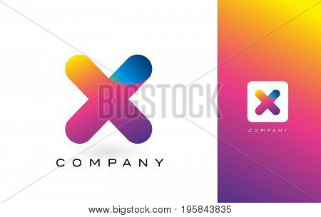 X Logo Letter With Rainbow Vibrant Beautiful Colors.x Colorful Trendy Letters Purple And Magenta Log