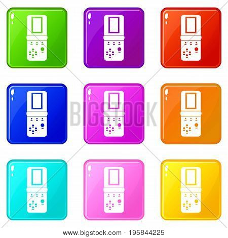 Tetris icons of 9 color set isolated vector illustration