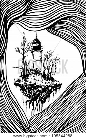Surrealistic landscape black white lighthouse isolated. Vector hand drawn illustration lighthouse surrounded by lines.Color page for adults and children. Book textile print poster design card