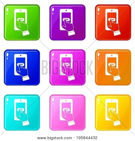 Playing games on smartphone icons of 9 color set isolated vector illustration