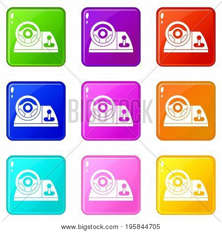 Computer steering wheel icons of 9 color set isolated vector illustration