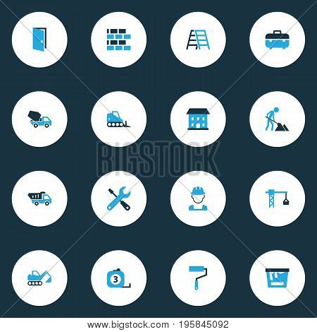 Construction Colorful Icons Set. Collection Of Tip Truck, Worker, Case And Other Elements