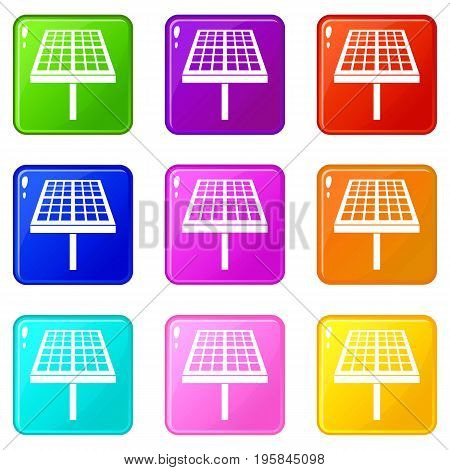Solar energy panel icons of 9 color set isolated vector illustration