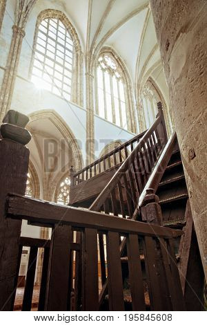 Stairs and windows inside mosque, Gothic St. Nicholas Cathedral in Famagusta, North Cyprus