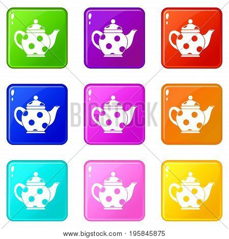 Kettle icons of 9 color set isolated vector illustration
