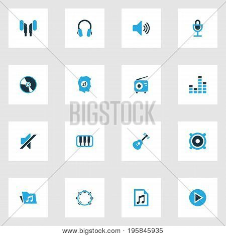 Music Colorful Icons Set. Collection Of Volume, Piano, Guitar And Other Elements