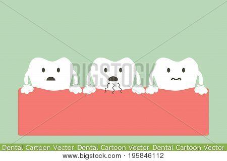dental cartoon vector tooth is halitosis or bad breath
