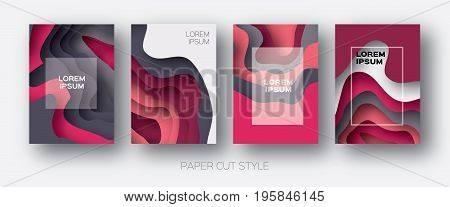 Paper Cut Wave Shapes. Layered curve Origami design for business presentations, flyers, posters. Set of 4 vertical banners. 3D abstract map carving. Text. Frame. Pink. Grey. Vector illustration