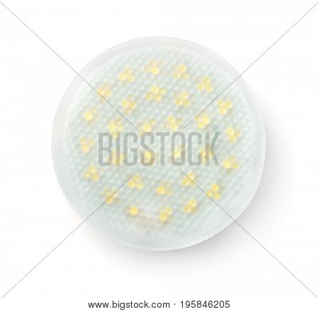 Top view of LED lamp isolated on white