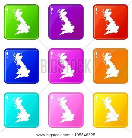 Map of Great Britain icons of 9 color set isolated vector illustration