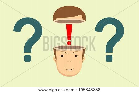 Leadership concept with red exclamation mark in the open head on background. Stock flat vector illustration.