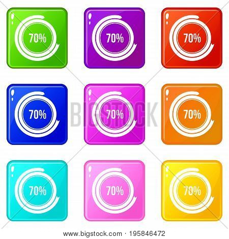 Sign 70 load icons of 9 color set isolated vector illustration