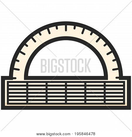 Simple Vector Icon of a classic alidad in flat style. Pixel perfect. Basic education element. School and office tool. Back to college. Angle protractor