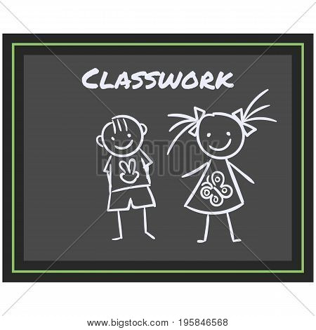 Simple Vector Icon of a classic school blackboard in flat style. Pixel perfect. Basic education element. School and office tool. Back to college. chalkboard