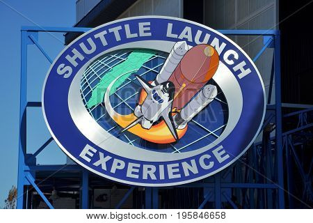 FLORIDA, USA - DEC 20, 2010: Shuttle Launch Experience sign in the John F. Kennedy Space Center in Florida, USA.