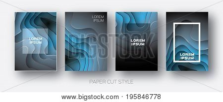 Paper Cut Wave Shapes. Layered curve Origami design for business presentations, flyers, posters. Set of 4 vertical banners. 3D abstract map carving. Text. Frame. Black.Blue. Vector illustration