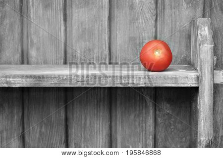 A lonely tomato on the wooden shelf selective color photo concept of poverty