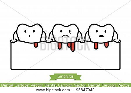 Gingivitis And Bleeding - Cartoon Vector Outline Style