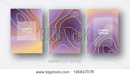 Paper Cut Wave Shapes. Layered curve Origami design for business presentations, flyers, posters. Set of 3 vertical banners. 3D abstract map carving. Text. Frame. Orange. purple. Vector illustration