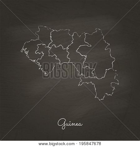 Guinea Region Map: Hand Drawn With White Chalk On School Blackboard Texture. Detailed Map Of Guinea