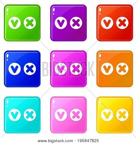 Fat tick and cross in circles icons of 9 color set isolated vector illustration