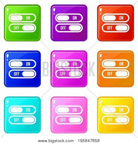 Button on and off icons of 9 color set isolated vector illustration