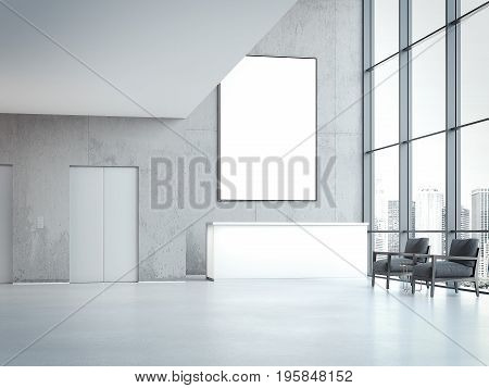 Modern office hall with reception and blank banner on wall. 3d rendering