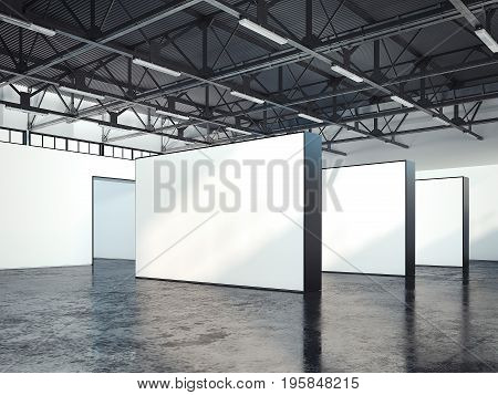 Modern bright loft gallery with blank walls and concrete floor. 3d renedring