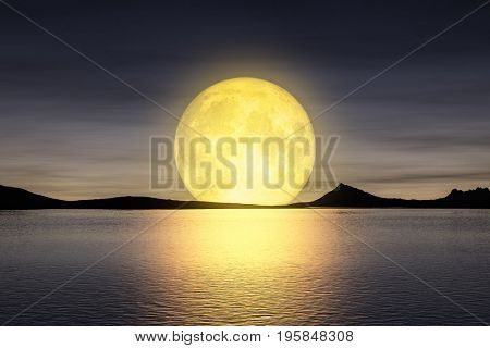 3d rendering of a moon rising over the sea