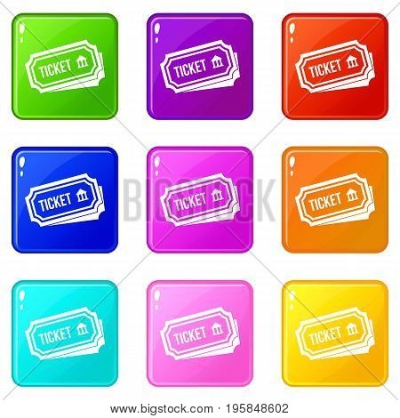 Ticket icons of 9 color set isolated vector illustration