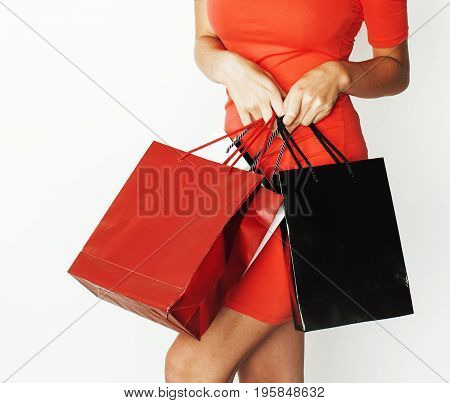 woman with diverse bags  posing emotional on white background, sale, lifestyle people concept close up
