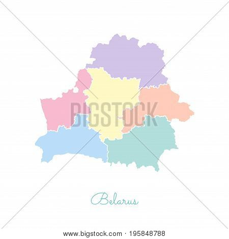 Belarus Region Map: Colorful With White Outline. Detailed Map Of Belarus Regions. Vector Illustratio