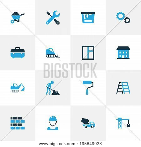 Industry Colorful Icons Set. Collection Of Building, Paint, Case And Other Elements