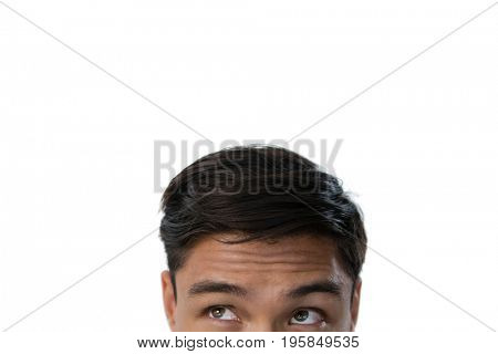 Cropped image of businessman against white background