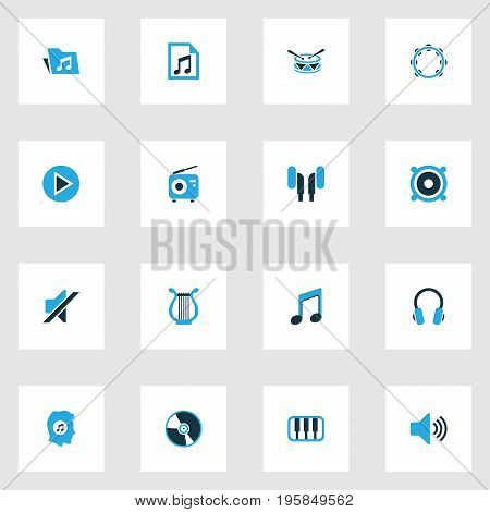 Audio Colorful Icons Set. Collection Of Vinyl, Drum, Playlist And Other Elements