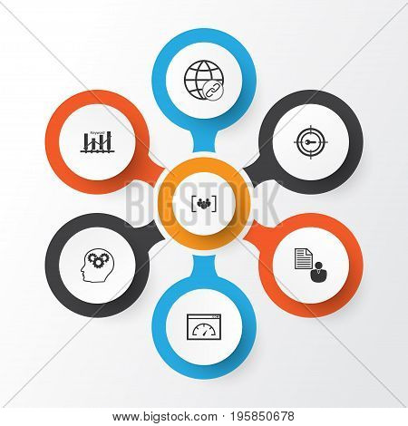 Marketing Icons Set. Collection Of Keyword Marketing, Intellectual Process, Report And Other Elements