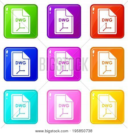File DWG icons of 9 color set isolated vector illustration
