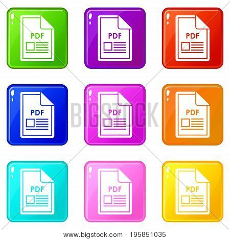 File PDF icons of 9 color set isolated vector illustration
