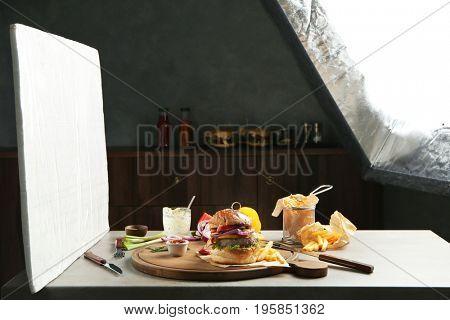 Photo studio with professional lighting equipment during shooting food