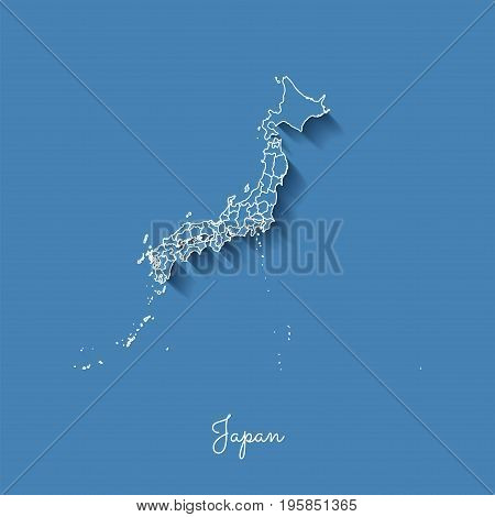 Japan Region Map: Blue With White Outline And Shadow On Blue Background. Detailed Map Of Japan Regio