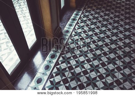 Texture of ceramic tiles in oriental style old buildingBangkok Thailand color vintage style
