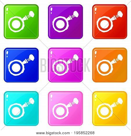 Whoopee cushion icons of 9 color set isolated vector illustration